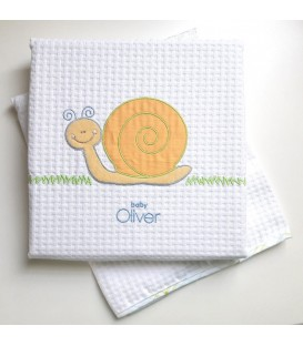 Baby Oliver Κουβέρτα Πικέ Κούνιας des.612 λευκή